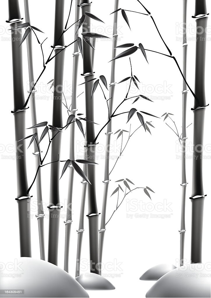 Ink Painting of Bamboo vector art illustration