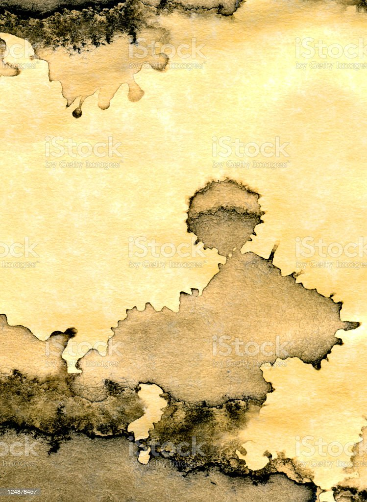 Ink Stain On Old Yellow Paper Texture royalty-free stock vector art