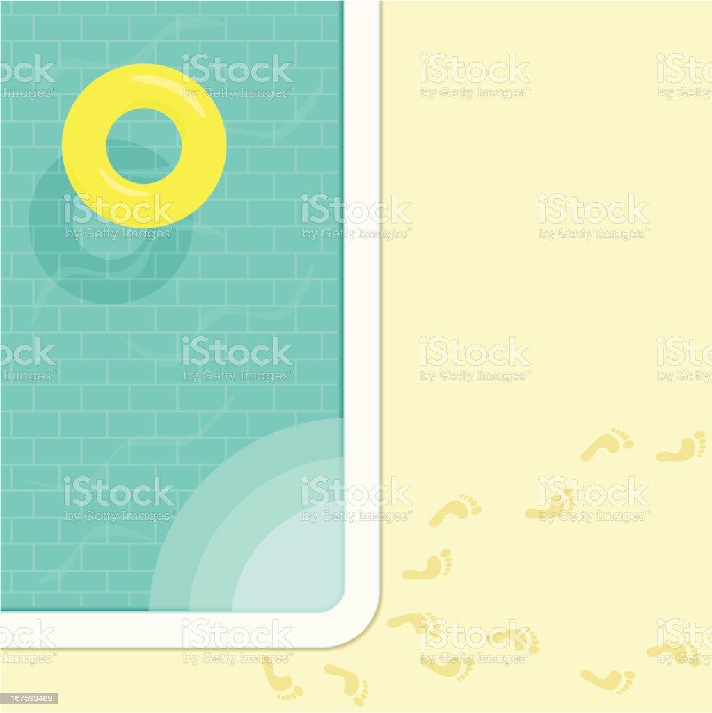 Inner tube in tiled swimming pool vector art illustration