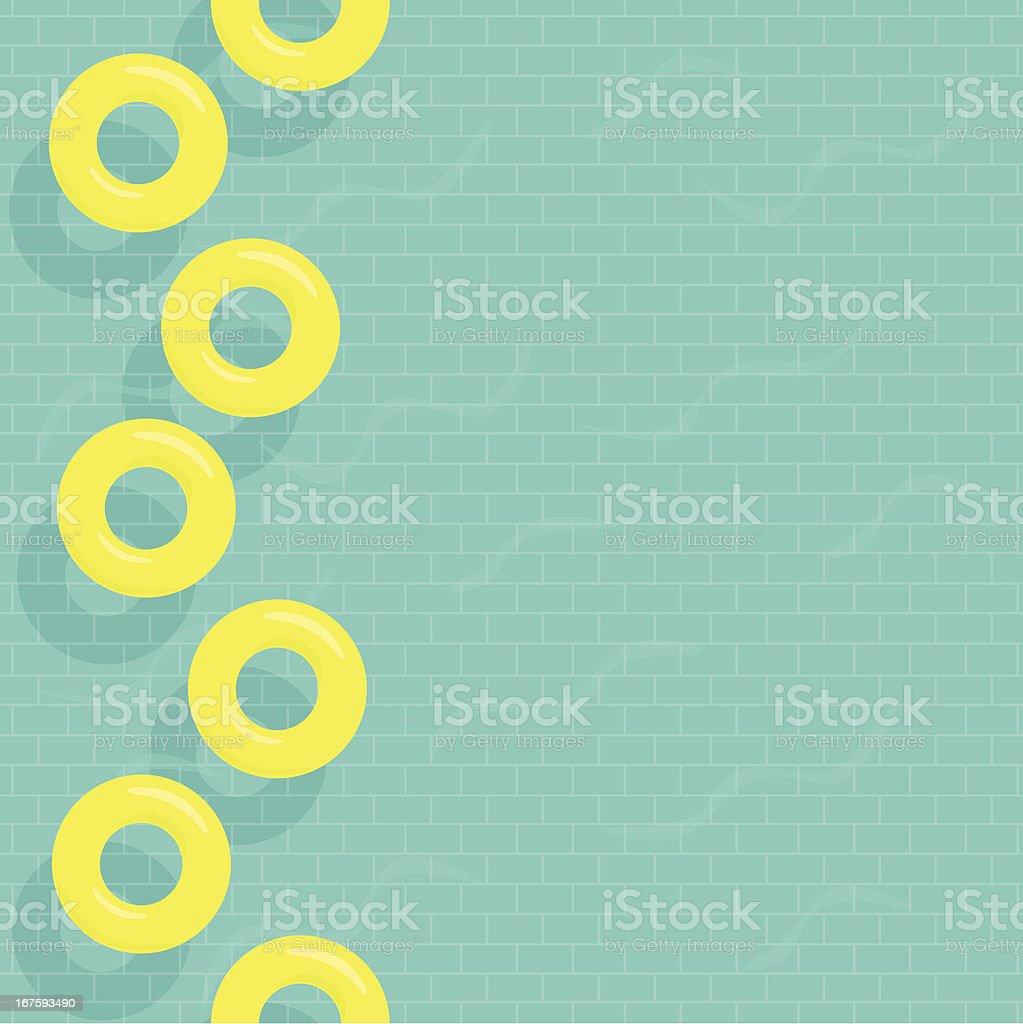 Inner tubes in tiled swimming pool vector art illustration