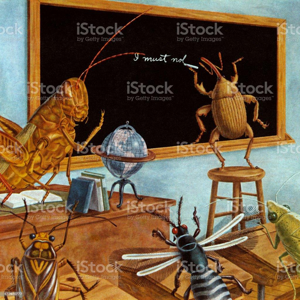 Insect School vector art illustration