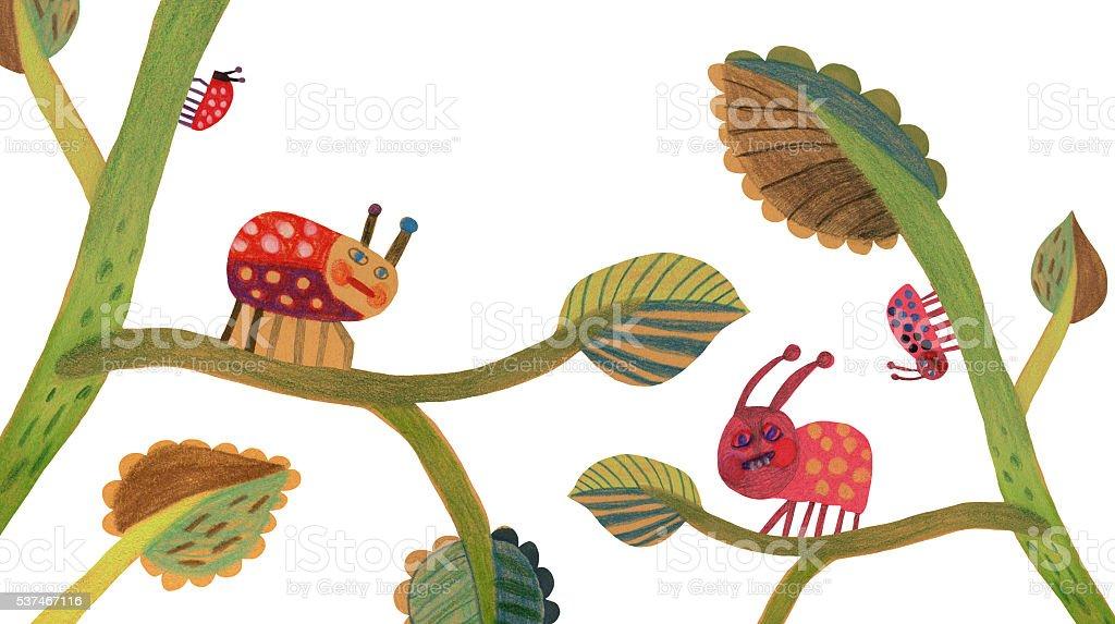Insects on plants illustration vector art illustration