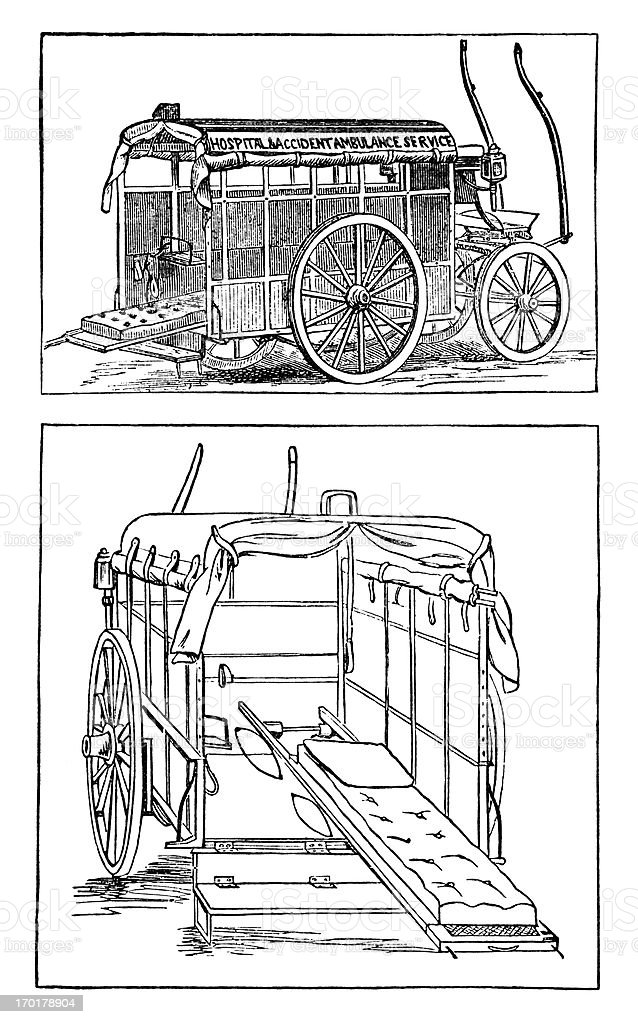 Inside and outside of a London Ambulance Service vehicle, 1880s royalty-free stock vector art