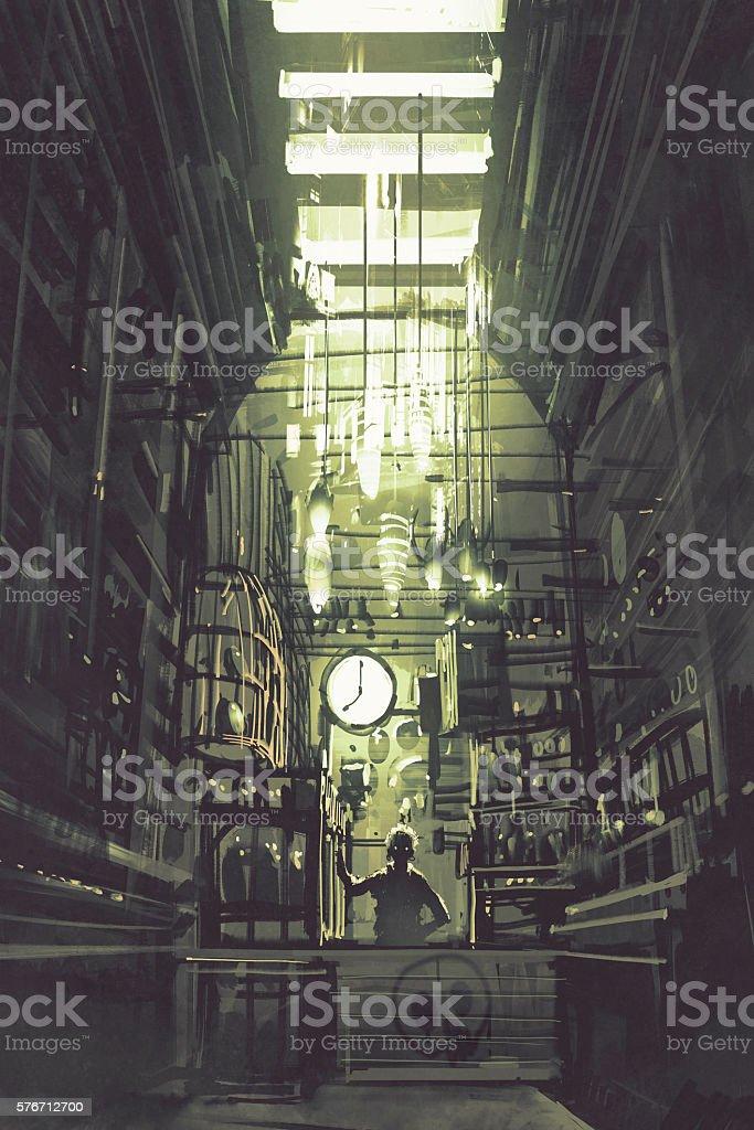 inside of grocer shop with old man wait for clients vector art illustration