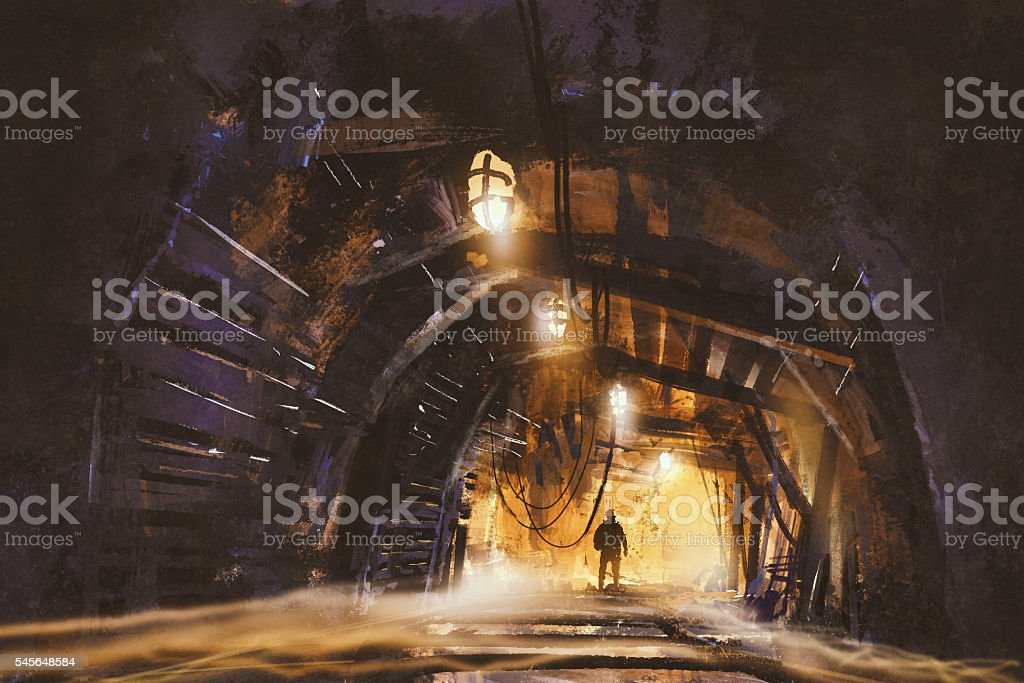 inside of the mine shaft with fog vector art illustration
