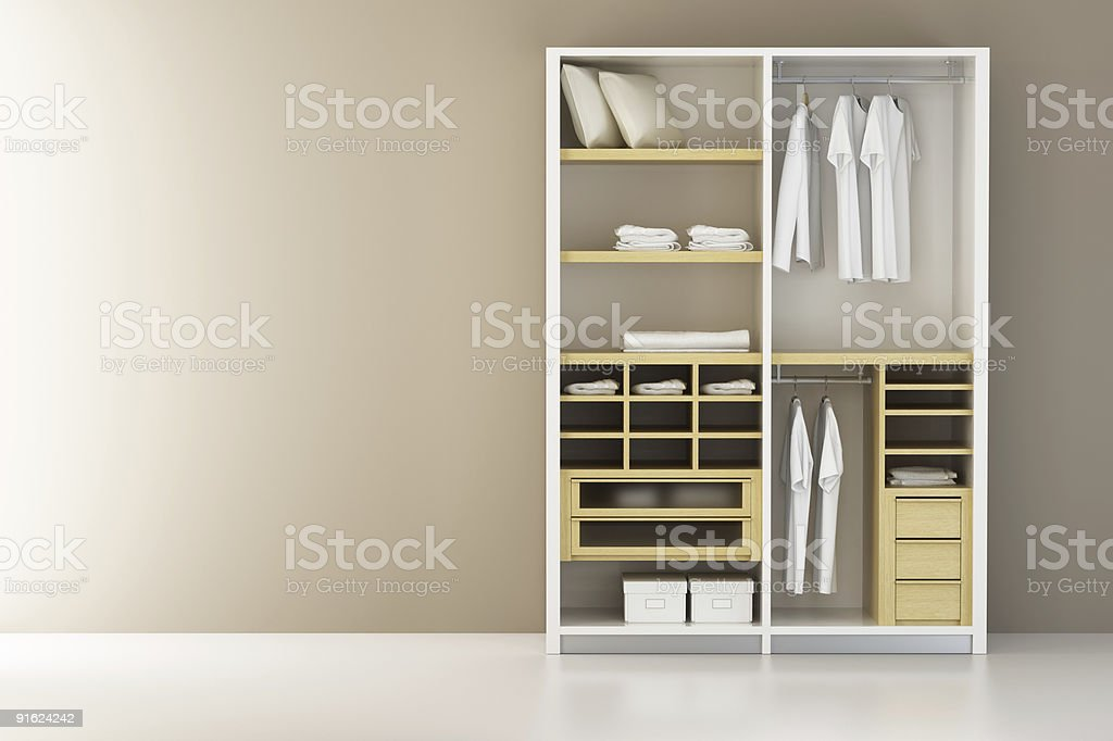 Inside the modern closet 3d rendering vector art illustration