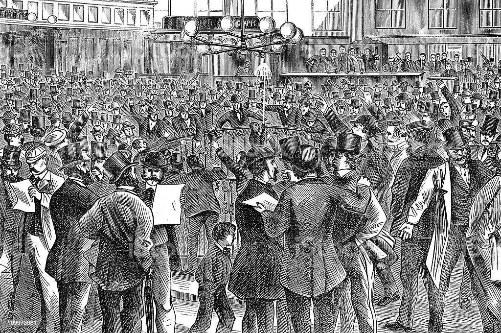 Inside The New York Stock Exchange 1873 vector art illustration