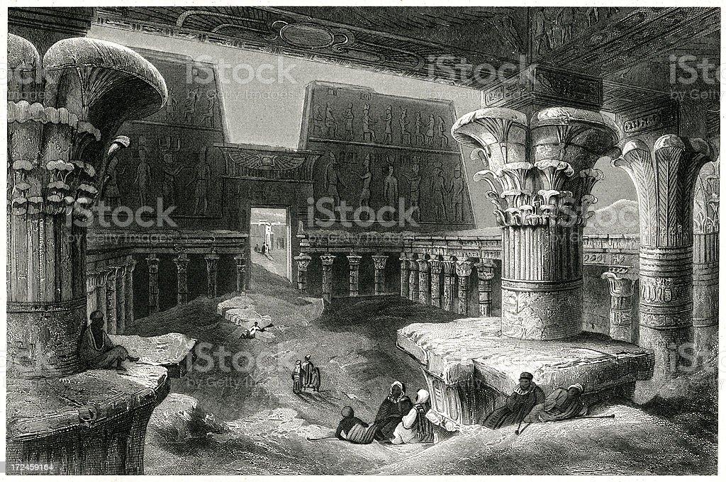 Inside The Temple Of Karnak, Egypt royalty-free stock vector art