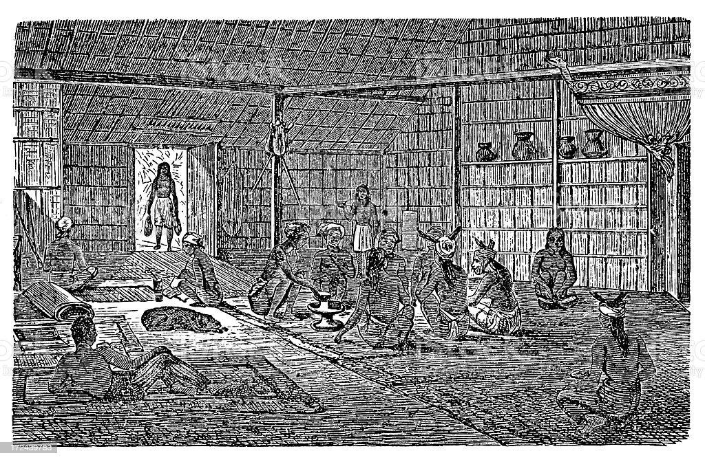 Inside view of Dayak house (antique wood engraving) royalty-free stock vector art