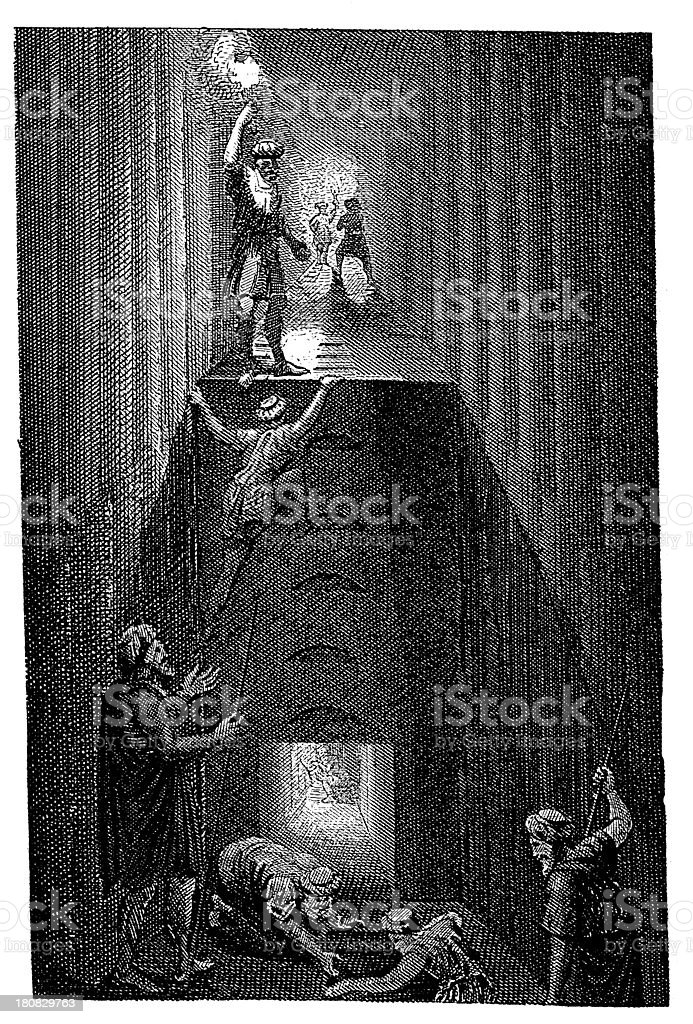Inside view of the Cheops pyramid royalty-free stock vector art