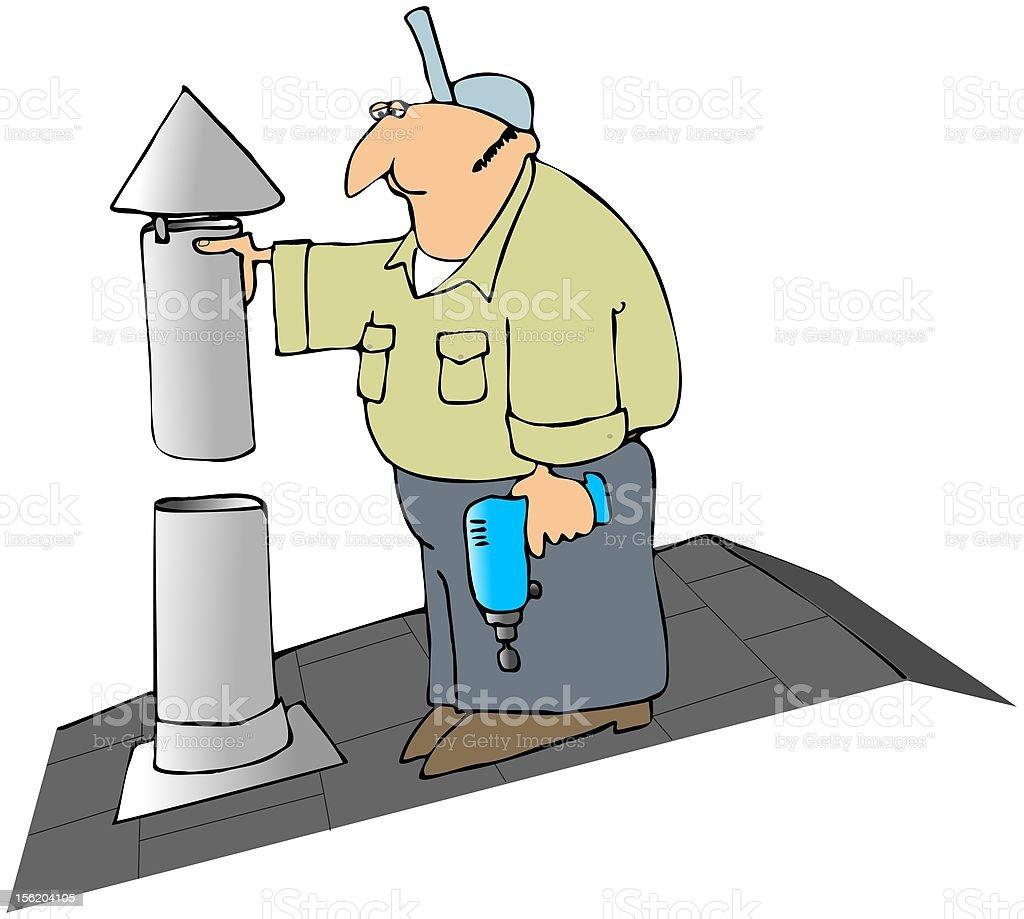 Installing A Furnace Flue Cap vector art illustration