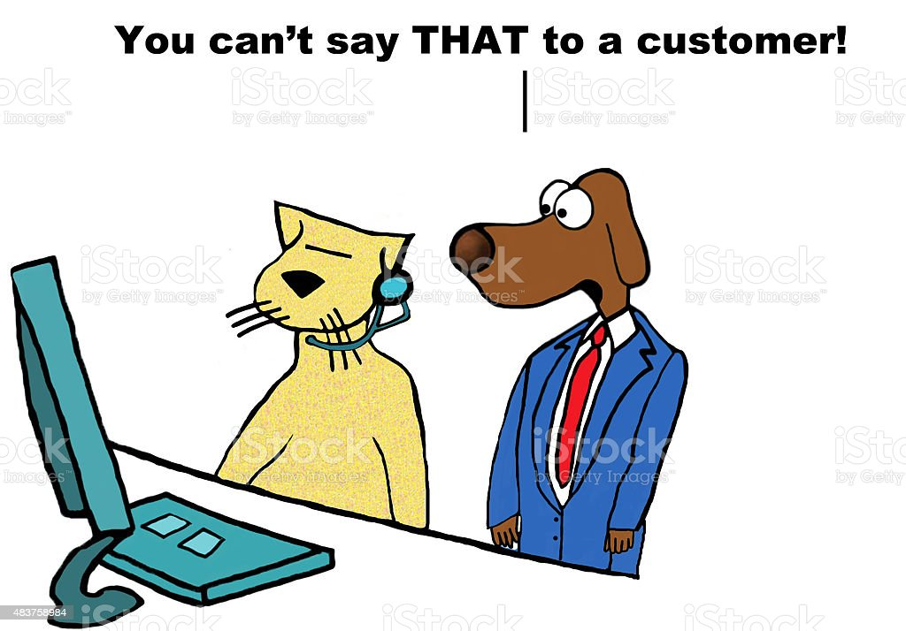 Insulting Customer Service Rep vector art illustration
