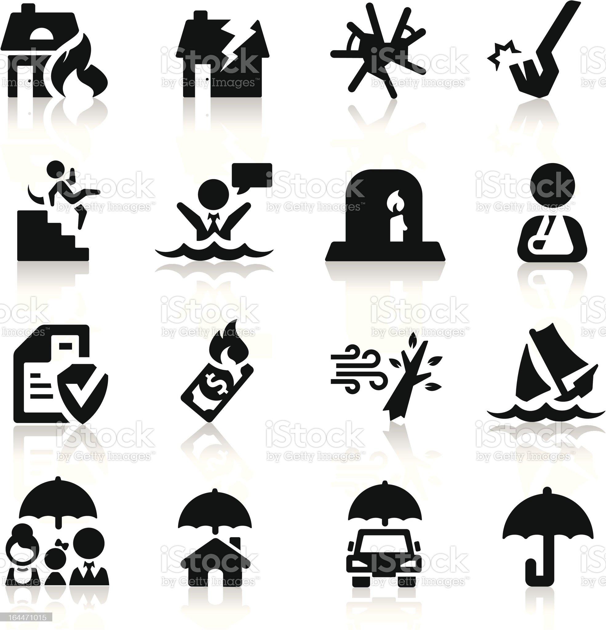 Insurance icons set Elegant series royalty-free stock vector art