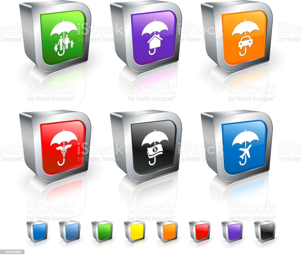 insurance types 3D vector icon set with Metal Rim royalty-free stock vector art