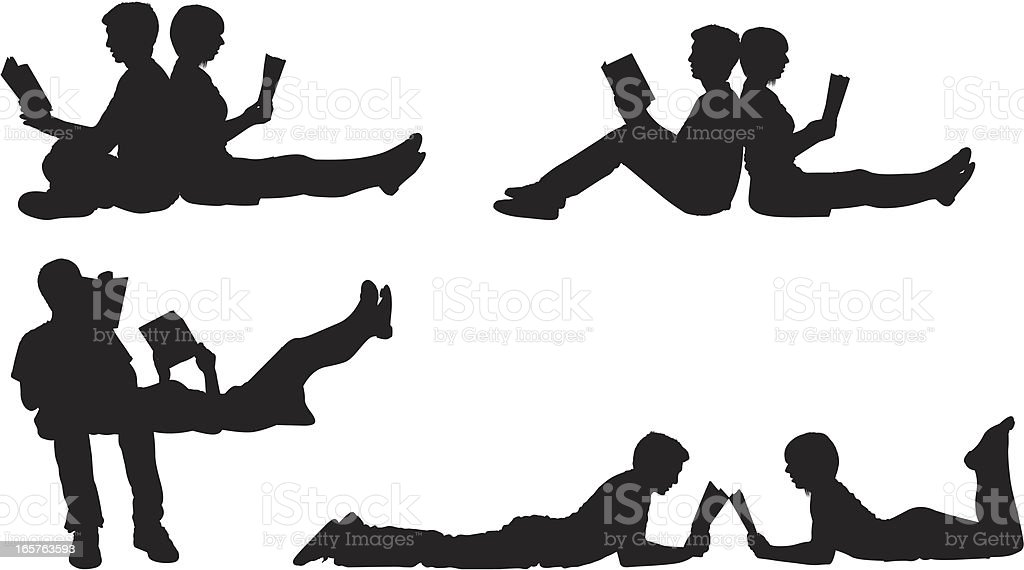 Intellectual couple reading together royalty-free stock vector art