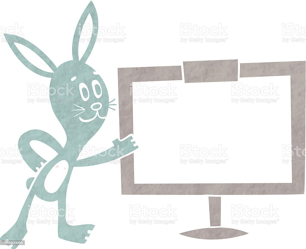 Interactive whiteboard bunny. royalty-free stock vector art