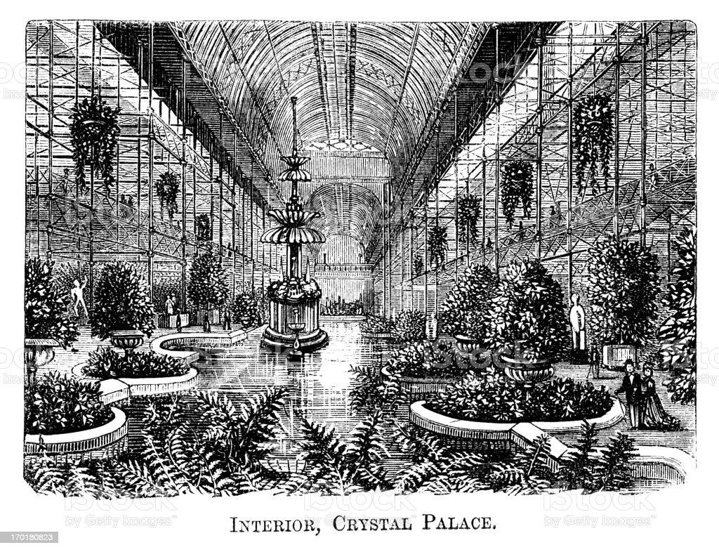 Interior, Crystal Palace, Sydenham (1871 engraving) royalty-free stock vector art