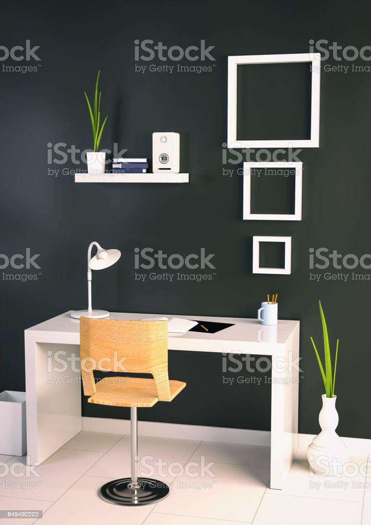 interior design of office vector art illustration