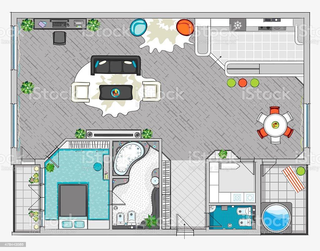 Interior design of one bedroom apartment vector art illustration