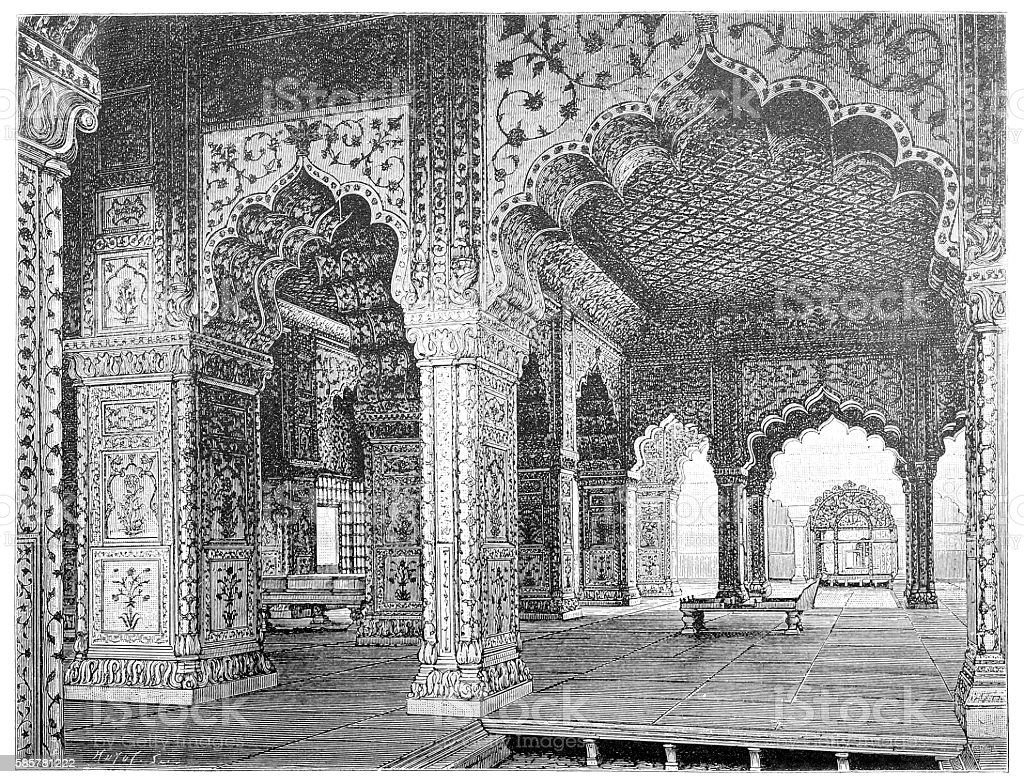 Interior of a hall in the palace of the Mughal kings in Delhi vector art illustration