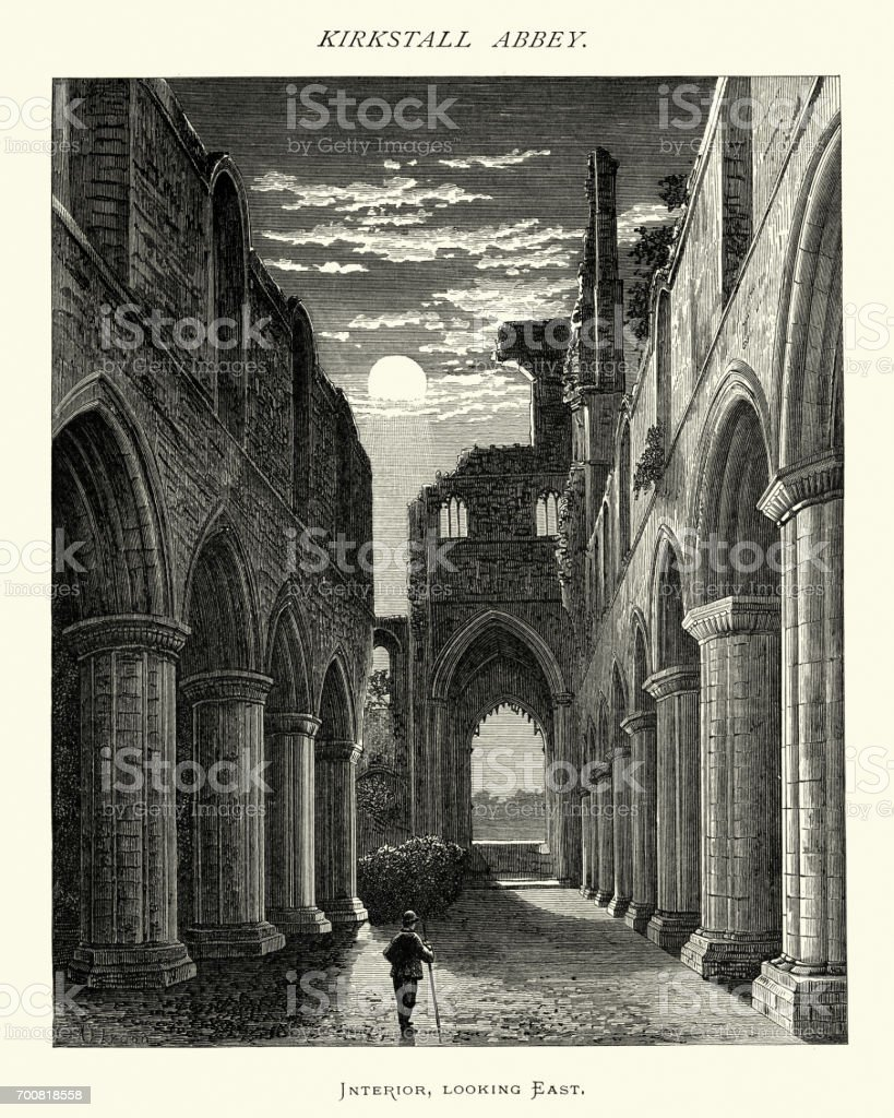 Interior of Abbey of Kirkstall, West Yorkshire, 19th Century vector art illustration