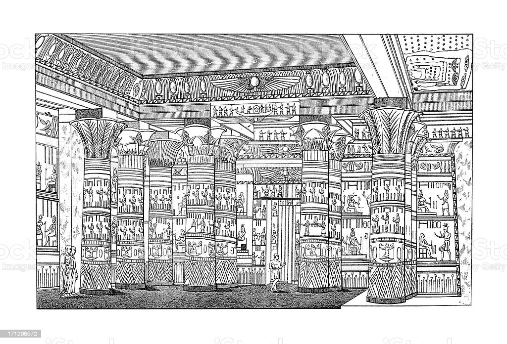 Interior of an Ancient Egyptian Temple | Antique Architectural Illustrations vector art illustration