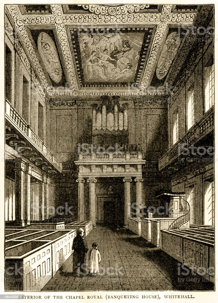 Interior of Chapel Royal (Banqueting House), Whitehall vector art illustration