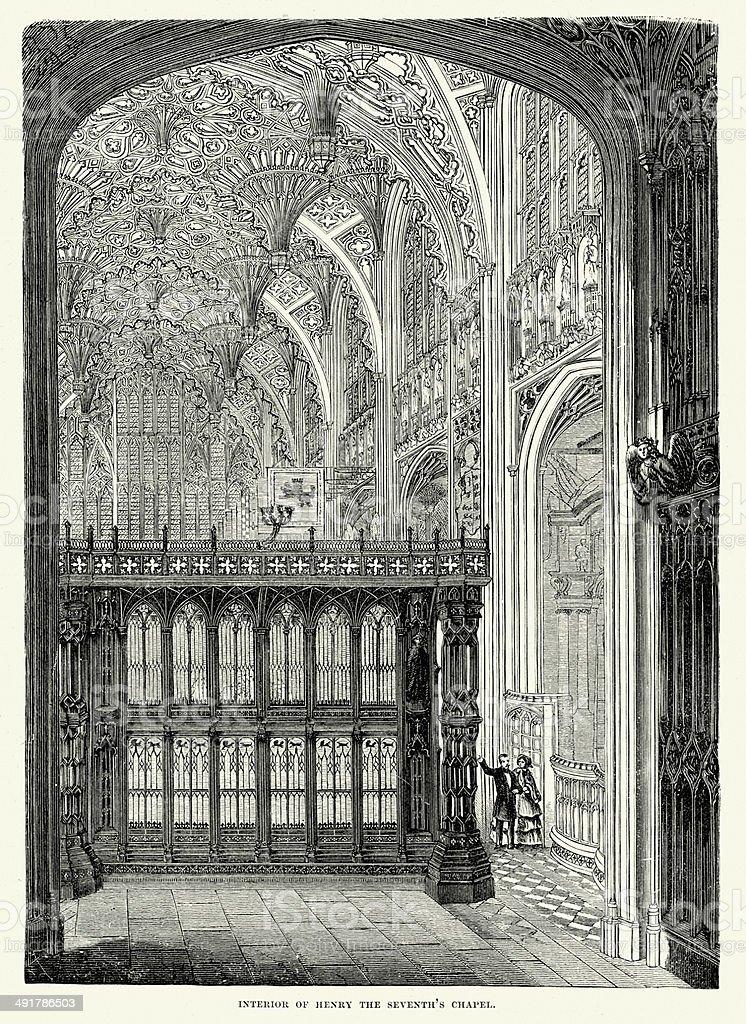 Interior of Henry VII's Chapel royalty-free stock vector art