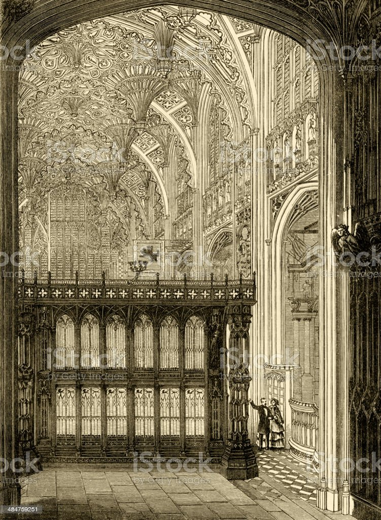 Interior of Henry VII's Chapel, Westminster Abbey vector art illustration