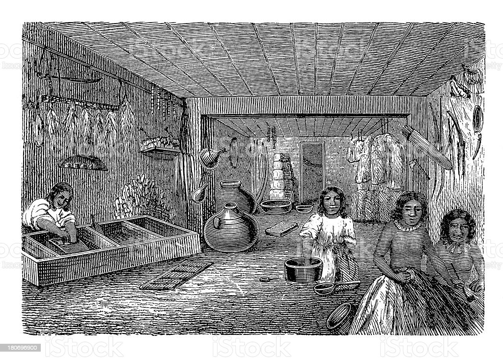 Interior of Hopi house (antique wood engraving) royalty-free stock vector art
