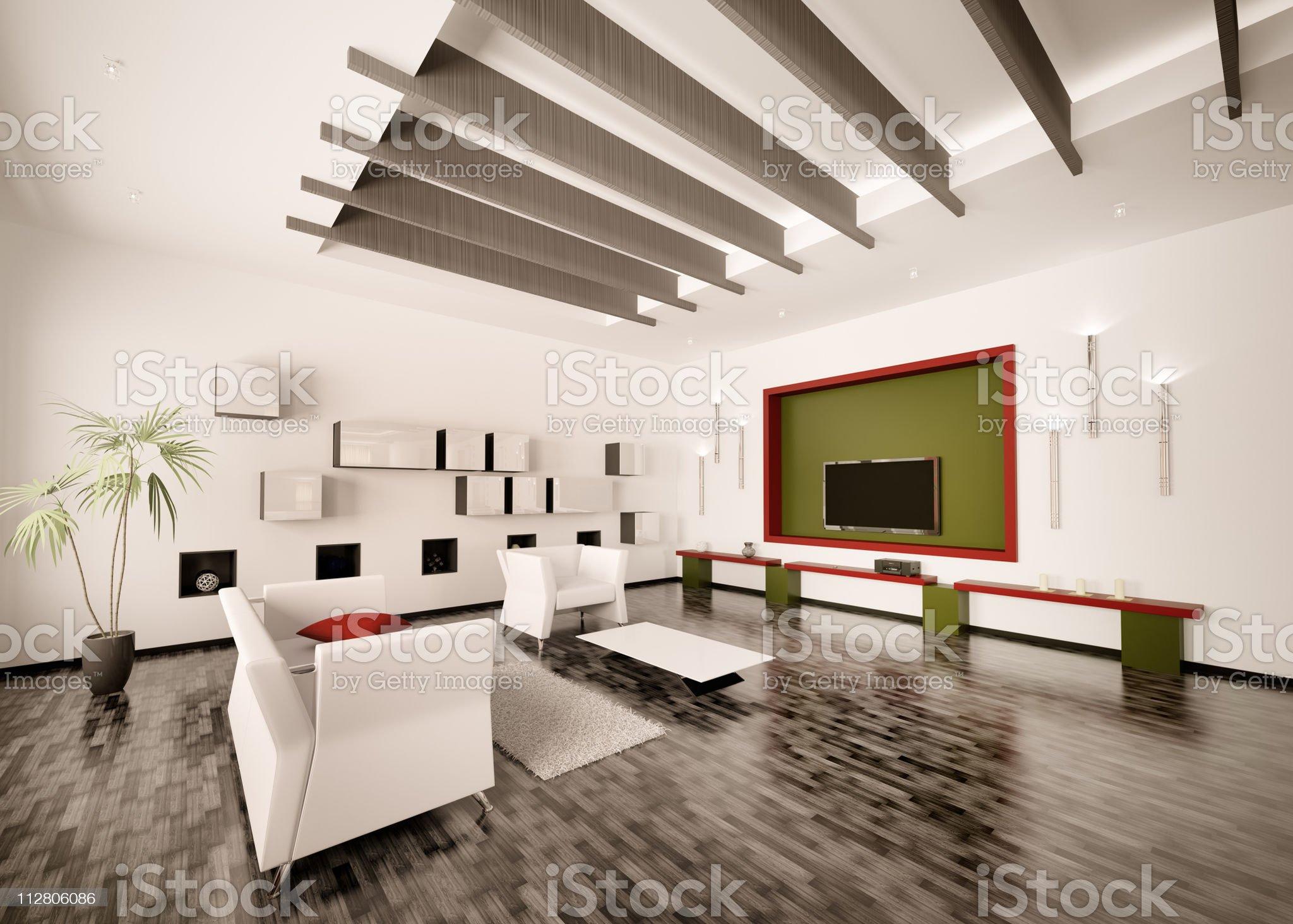 Interior of modern living room 3d render royalty-free stock vector art