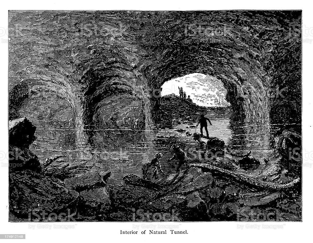 Interior of Natural Tunnel, Virginia vector art illustration