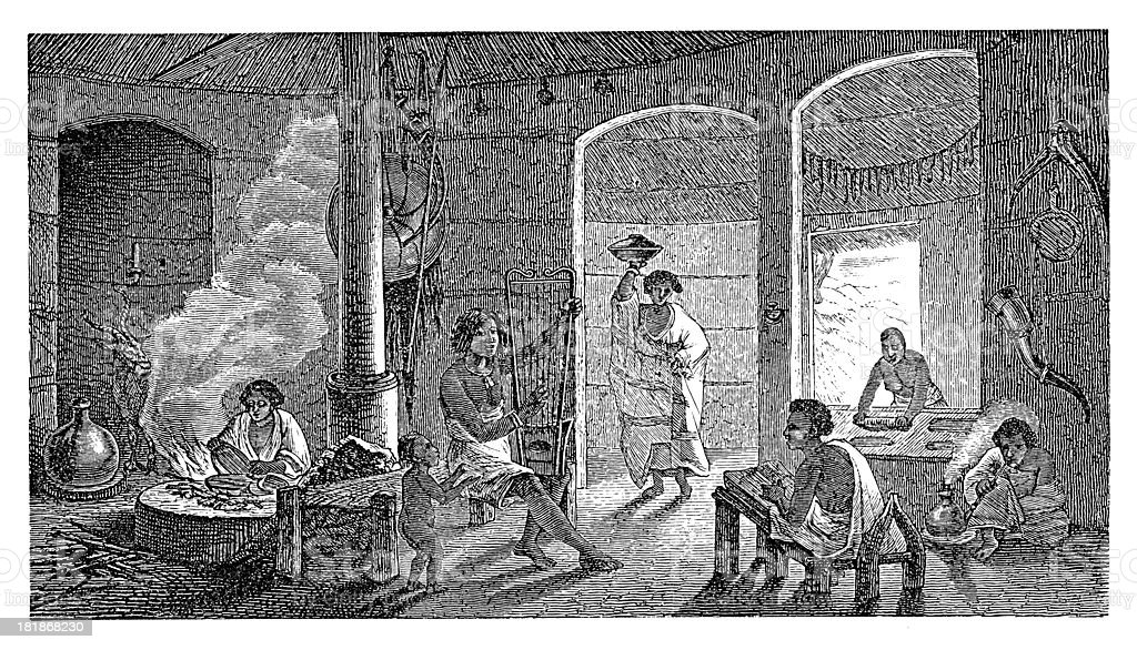 Interior of Shewan house, East Africa (antique wood engraving) royalty-free stock vector art
