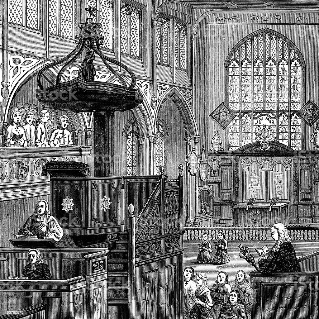 Interior of St Margaret's Church, Westminster, 1695 vector art illustration