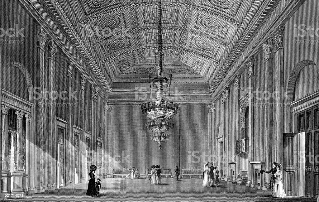 interior of the ball-room, town-hall vector art illustration