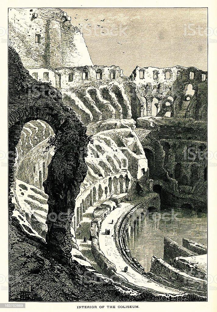 Interior of the Colosseum, Rome, Italy I Antique European Illustrations vector art illustration