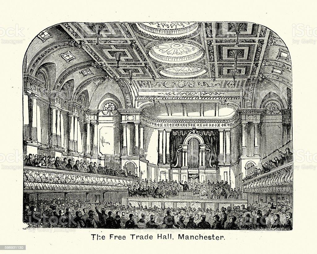 Interior of the Free Trade Hall, Manchester, 1894 vector art illustration