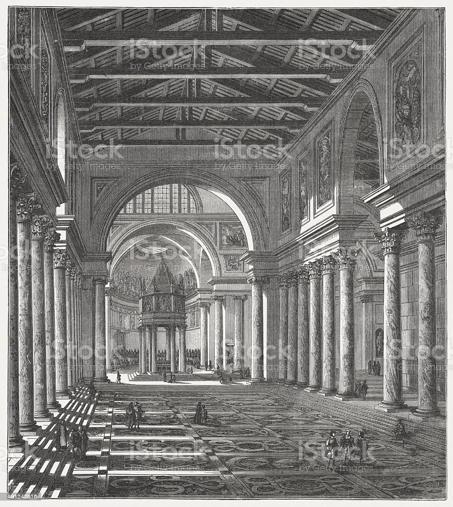 Interior of the Old St. Peter's Basilica, published in 1878 vector art illustration