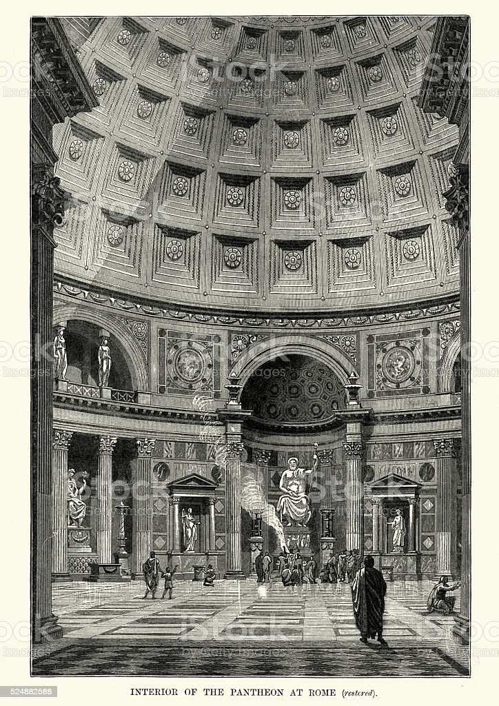 Interior of the Pantheon in ancient Rome vector art illustration