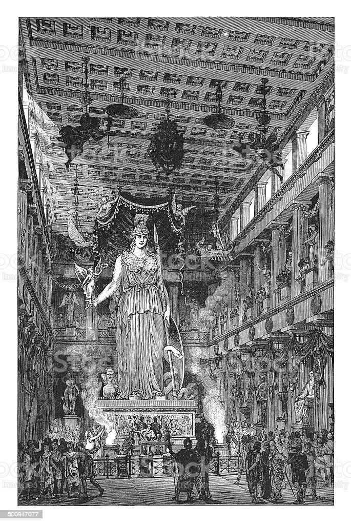 Interior of the Parthenon (antique engraving) vector art illustration
