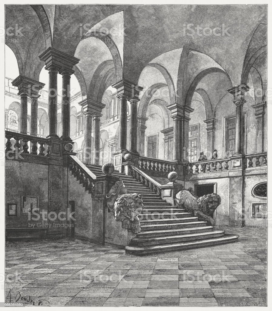 Interior of the University of Genoa, Italy, published in 1884 vector art illustration