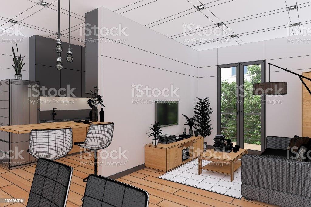 3D Interior rendering of an Apartment vector art illustration