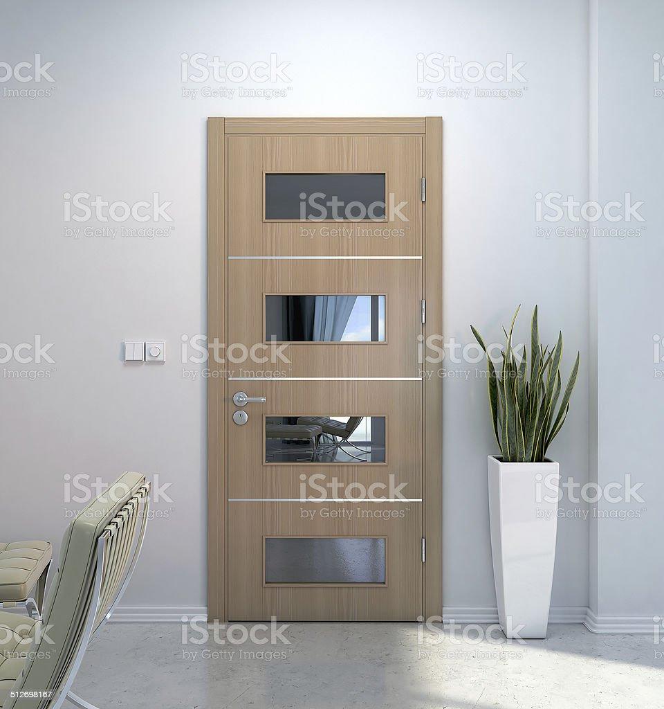 Interior scene with door vector art illustration