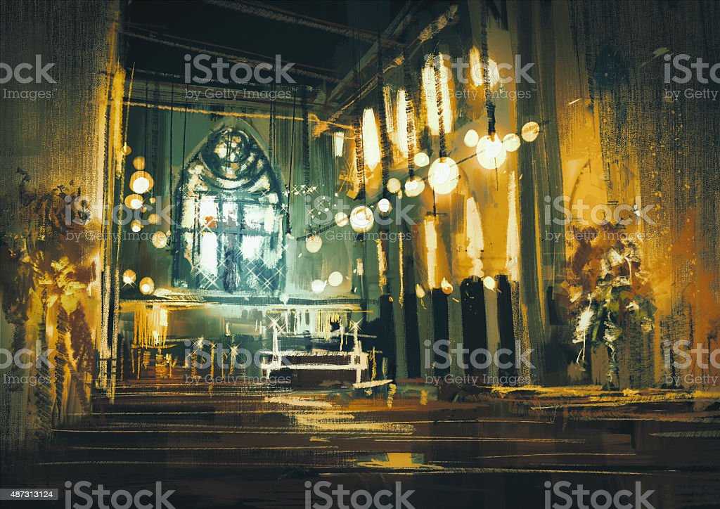 interior view of a church and dramatic light vector art illustration