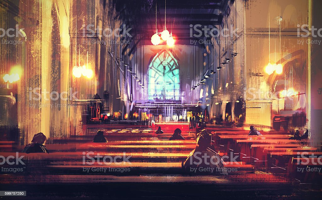 interior view of a church,illustration vector art illustration