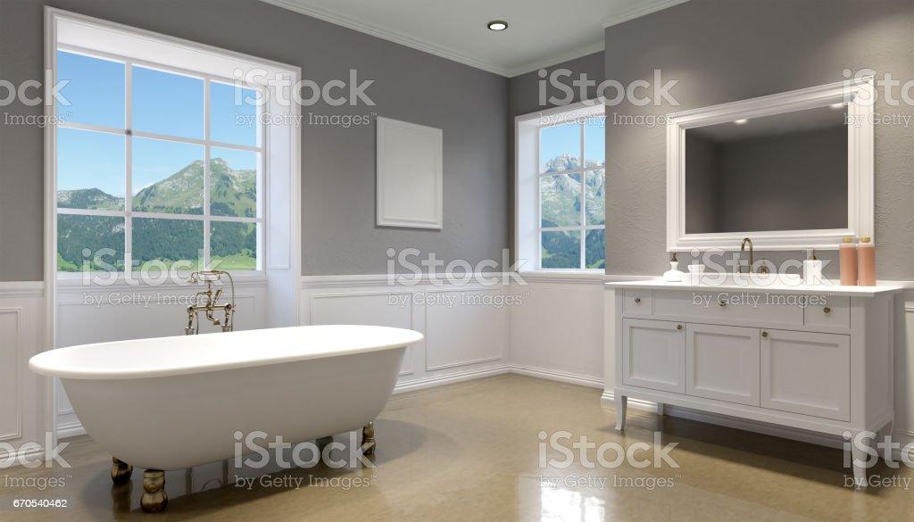 Beautiful Luxury Bathroom Interiors stock photo interior view of beautiful luxury bathroom Interior View Of Beautiful Luxury Bathroom 3d Rendering Royalty Free Stock Vector Art