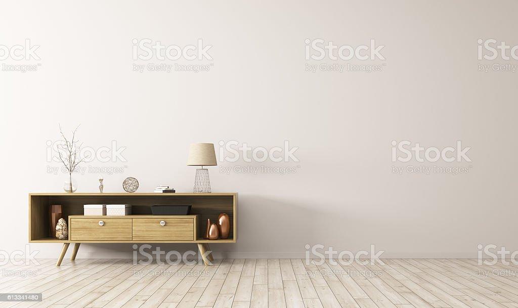 Interior with wooden sideboard 3d rendering vector art illustration