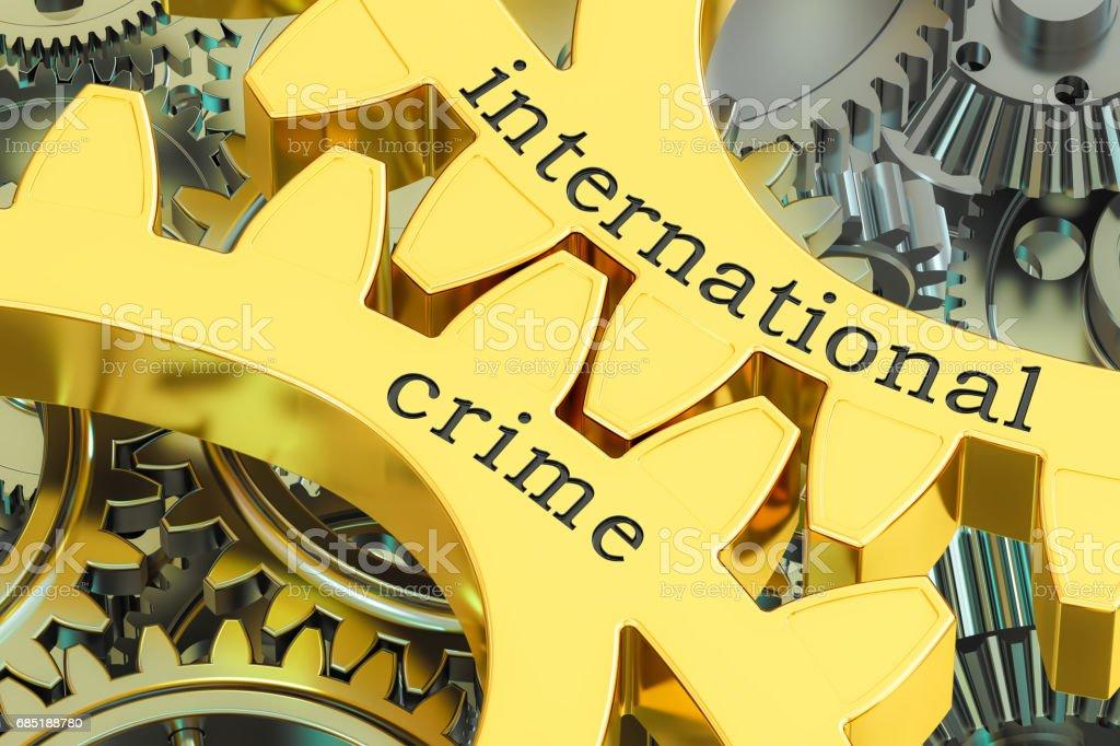 international crime concept on the gearwheels, 3D rendering vector art illustration