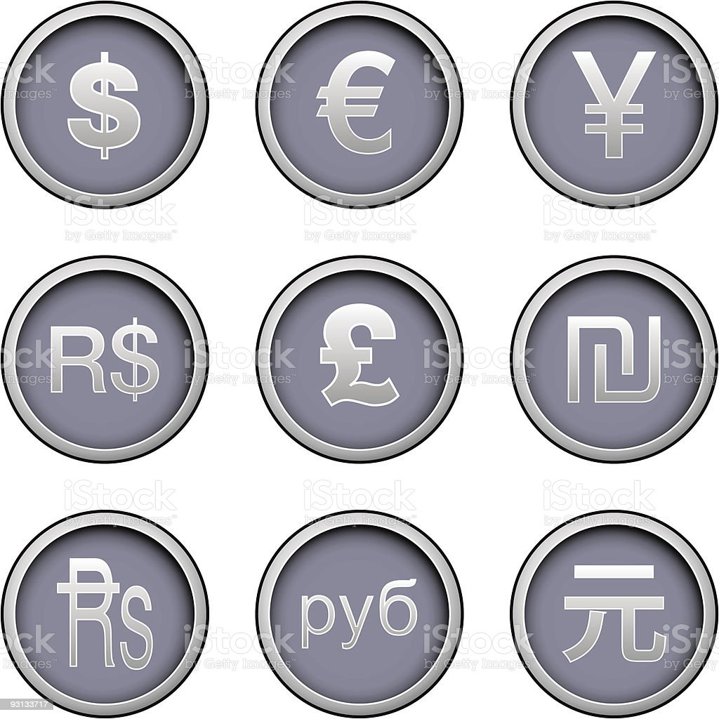 International currency icon set royalty-free stock vector art