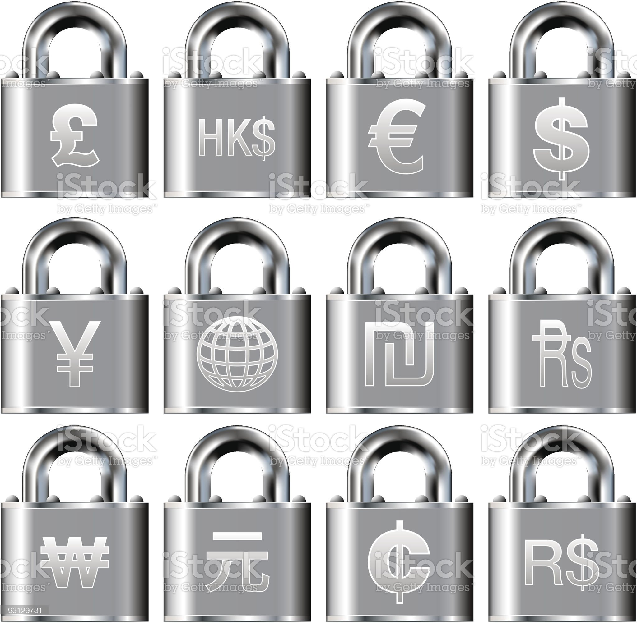 International currency symbol icons on security padlock buttons royalty-free stock vector art